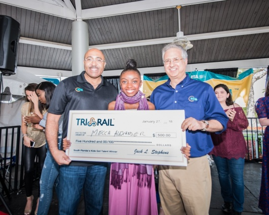 (From left to right) SFRTA/Tri-Rail Deputy Executive Director Mikel Oglesby, 1st place winner Mecca Alexander and Palm Beach County Commissioner / former Governing Board Chair for SFRTA/Tri-Rail
